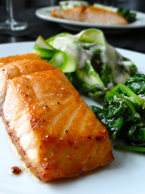Baked Spicy Honey Glazed Salmon