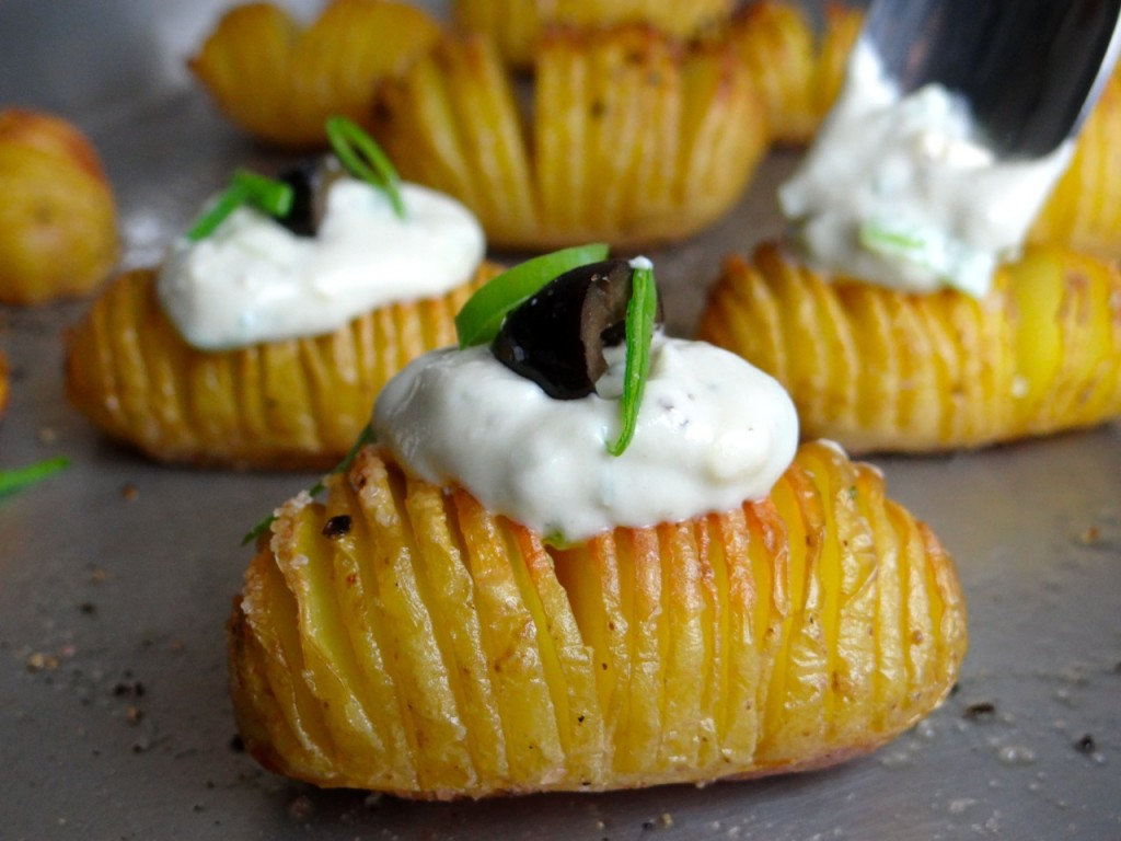 Hasselback Potatoes with Blue Cheese Cream