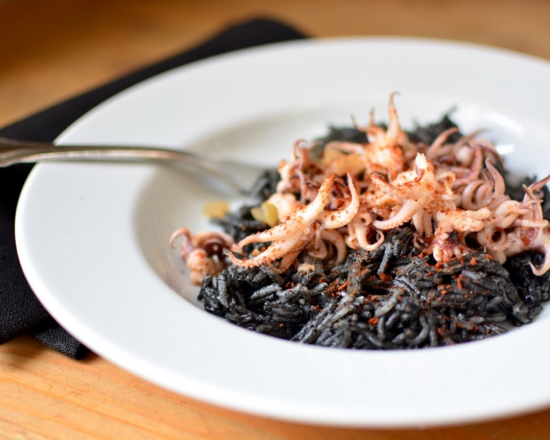 Sauteed Calamari and Ink Stained Rice