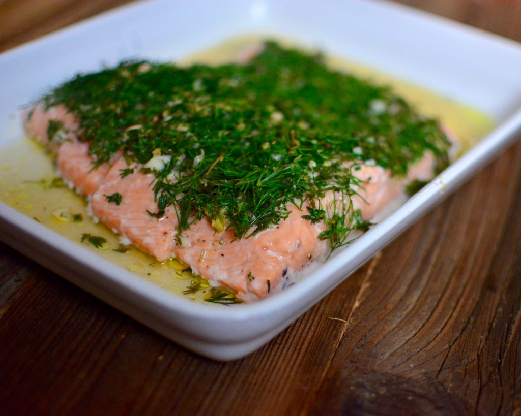 Braised Salmon with Fridge-Foraged Herbs