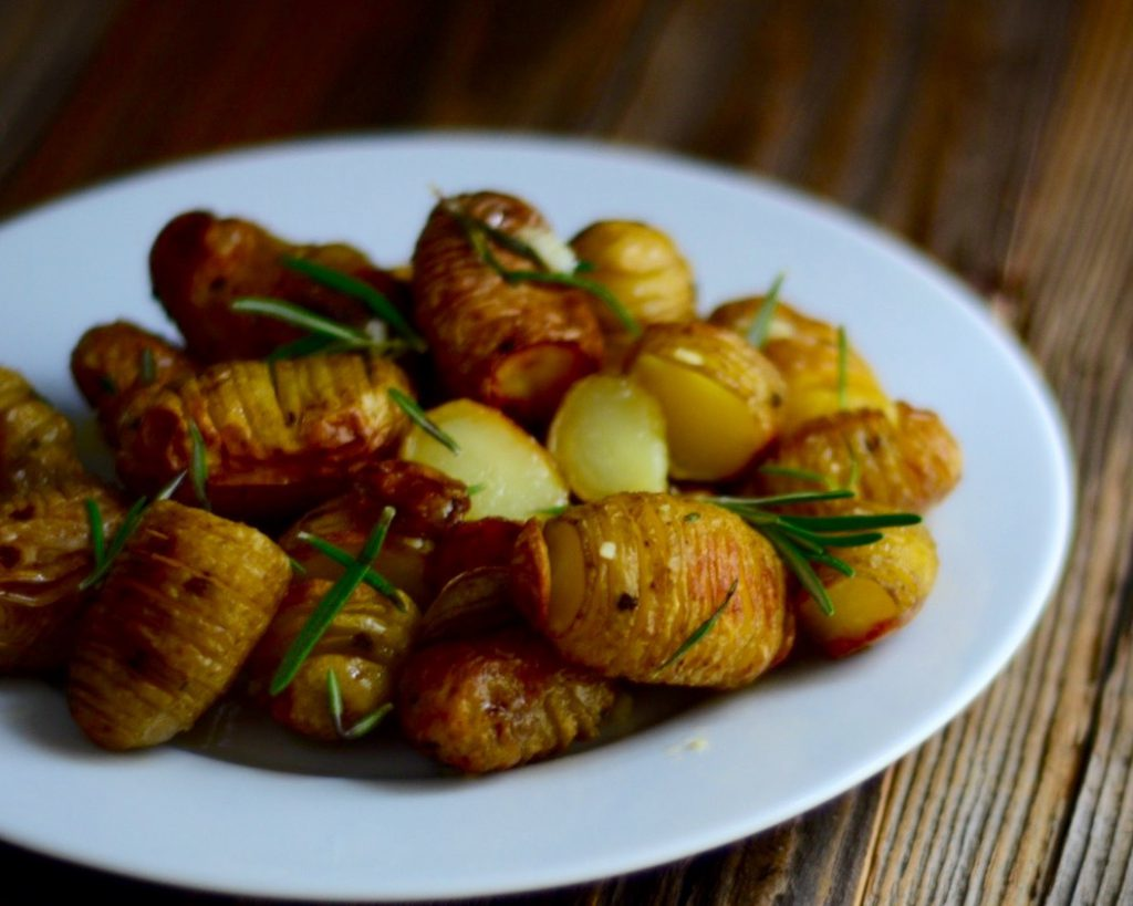Rosemary & Garlic Hasselback Potato Salad